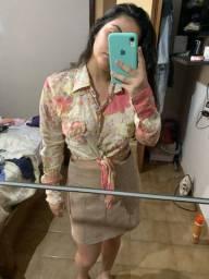 blusa de botão com amarração