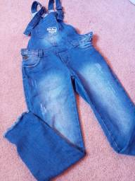 Macacão jeans tamanho 7 8
