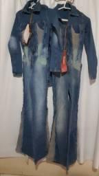 Macação jeans.com lycra tam 36 e 38