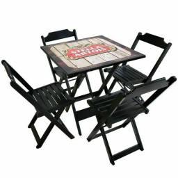 Jogo de mesa madeira dobrável
