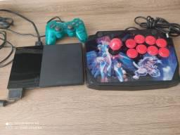 Play 2 + controle + controle arcade e jogos
