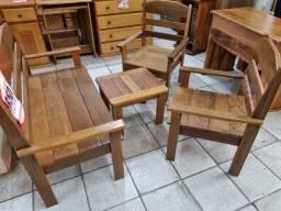 Título do anúncio: Jogo de pátio com 2x1x1 lugares e mesa de centro em madeira,  Artesanal