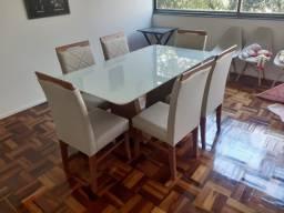 Mesa seis lugares nova pintura laka e madeira