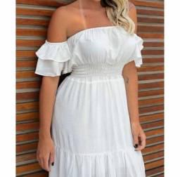 Vestido branco longo plus size