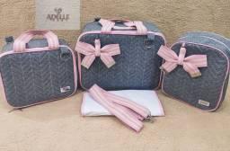 Kit bolsa 4 peças jeans / rosa