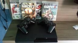 Ps3 com 3 jogos digital e 4 cd 2 contole