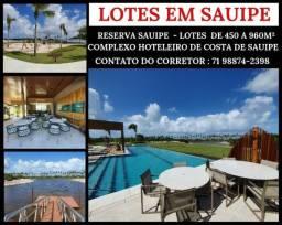 Lotes em Costa de Sauípe - Lotes de 450 a 963m² -Condomínio Reserva Sauípe - Por 272 mil