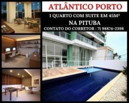 1 quarto com Varandão na Pituba- Suite - Total Infraestrutura em 45m² - Por 240 mil