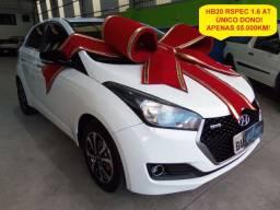 Hyundai HB20 Rspec 1.6 automático, único dono, 55.000km (9.900 ent + 60x de 979,00)