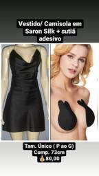 Vestido-Camisola(Slipdress) Decote Degage em Satin + sutia adesivo- leia a descrição