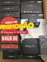 Tv box Mx9 4k 64gb de memoria 8gb ott 5G de velocidade