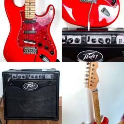 Guitarra Telecaster Vermelha + Amplificador Peavey