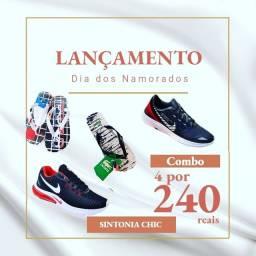 2 pares de tênis e 2 pares de chinelo por 240 reais