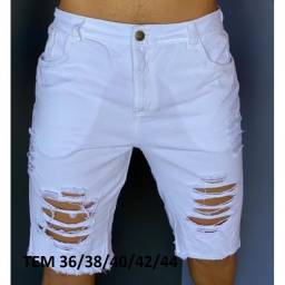 Bermuda Jeans Masculina Destoyed Rasgada Desfiada na Moda