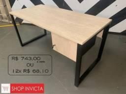 Mesa de Escritório Reta Bruma Pé Quadro C/ Gaveteiro 1,50x70x74 / Nova / NFE