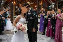 Vestido de noiva Branco semi sereia com decote nas costas como novo