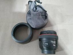 Lente canon EF 50mm 1.2 impecável