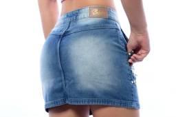 Saia jeans com lycre e sem lycra