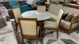 Mesa redonda completa pronta entrega madeira e acabamento laka
