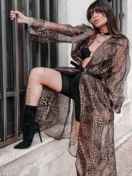 Sobretudo leopardo transparente luxo