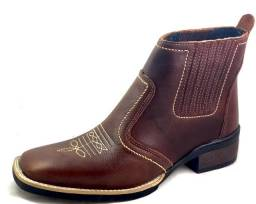 Bota country texana botina bico quadrado couro legitimo