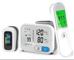 Kit com Medidor De Pressão, Termometro e Oxímetro