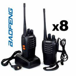 Kit 8 Rádios Comunicador HT Walk Talk UHF 16 Canais Profissional + Fone Baofeng BF-777