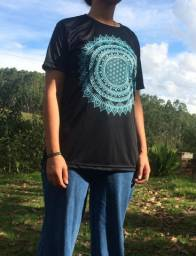 Camisa Mandala Flor da Vida Azul