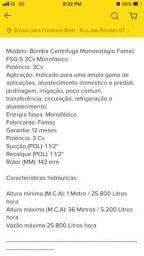 Bomba Centrifuga Monoestágio Famac Fsg-s 3cv Mono