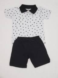 Conjunto de moletinho e blusa gola Polo para menino