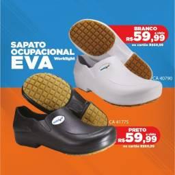 Sapato Ocupacional em EVA antiderrapante preto e branco - Worklight - Promoção R$59,99