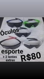 Óculos Esporte com lentes extra
