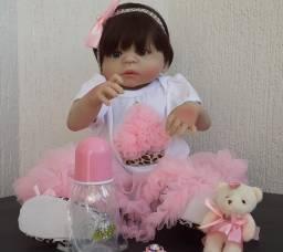 Bebê Reborn Bzdoll Toda em Silicone, Menina 57 cm Completa Disponível md4