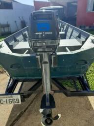 Conjunto Reboque e Barco MetalSul semi chato - motor 15hp - 6 metros - semi novo