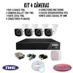 Kit 4 câmeras + Dvr 4 canais cftv