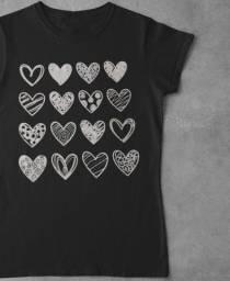 Blusa Feminina Moda2021 Tshirt Coração