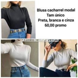 Título do anúncio: Blusa cacharrel modal preta, branca e cinza tam único promoção