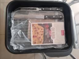 Kit Forma: mini grelha + Faca de Serra + Garfo + livro de receita + descanso p/ panela