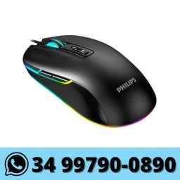 Mouse Gamer Philips com Fio Led Rgb