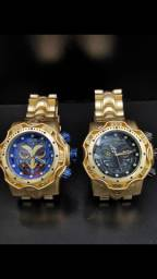 Relógio Masculino Joker Coringa Dourado Grande Fundo Preto Azul
