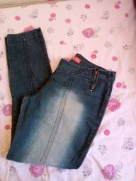 Calça jeans escura cintura baixa