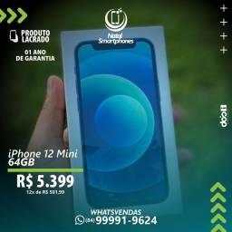 IPHONE 12 MINI - COM 64GB ( LACRADO+GARANTIA DE 365 DIAS - PRETO AZUL OU BRANCO )