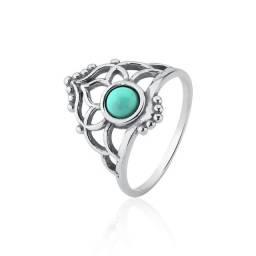 Anel de prata envelhecida coroa com pedra turquesa