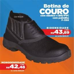 Botina de couro com elástico Monodensidade com palmilha - F-SEG- Promoção R$42,48