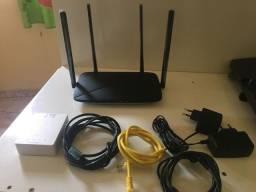 Roteador + transformador de fibra ótica