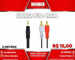 Cabo P2 para RCA 5m- R$15,00