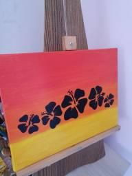 Pintura artesanal minimalista (flor do hawai)