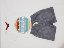 Conjunto de bermudinha e blusa para menino