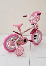Bicicleta aro 12 Nova com cadeirinha de boneca para menina. A partir de 2 anos