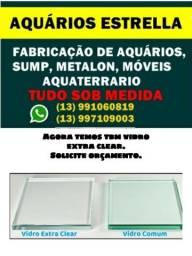 Aquarios sob medida, vidros extra clear,